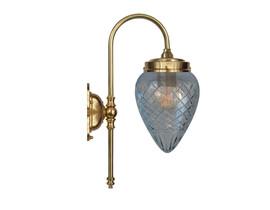 Badrumslampa Blomberg - mässing / rutslipat glas