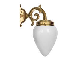 Badrumslampa Topelius - mässing / opalvitt droppglas