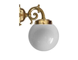 Badrumslampa Topelius - mässing / opalvitt klotglas