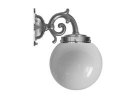 Badrumslampa Topelius - förnicklad / opalvitt klotglas