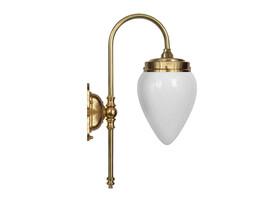 Badrumslampa Blomberg - mässing / opalvitt droppglas