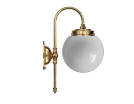 Badrumslampa Blomberg - mässing/ opalvitt klotglas