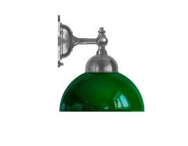 Badrumslampa Adelborg - förnicklad / grön glasskärm