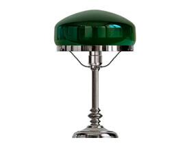 Bordslampa Karlfeldt - förnicklad / grön glasskärm