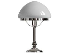 Bordslampa Karlfeldt - förnicklad / vit glasskärm