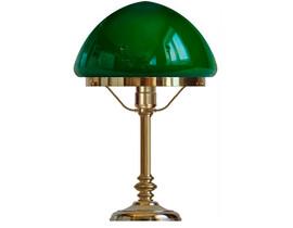 Bordslampa Karlfeldt - mässing / grön toppig glasskärm