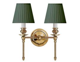 Vägglampa Wivallius - mässing / grön tygskärm