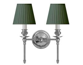 Vägglampa Wivallius - förnicklad / grön tygskärm