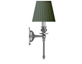 Vägglampa Ribbing - förnicklad / grön tygskärm