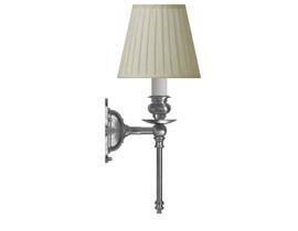 Vägglampa Ribbing - förnicklad / beige tygskärm
