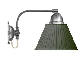 Vägglampa Gripenberg - förnicklad / grön tygskärm