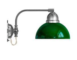 Vägglampa Gripenberg - förnicklad / grön glasskärm